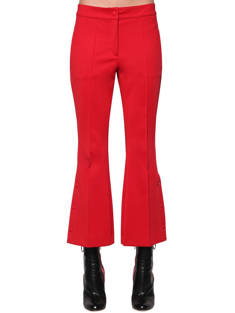 MARCO DE VINCENZO Flared Techno Jersey Cropped Pants in pink / red