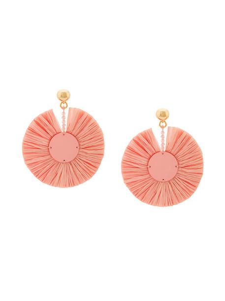 women plastic earrings purple pink jewels