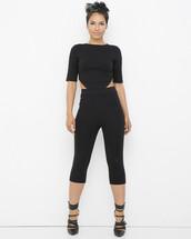 pants,outfit,outfit set,black outfit,capris,capri pants