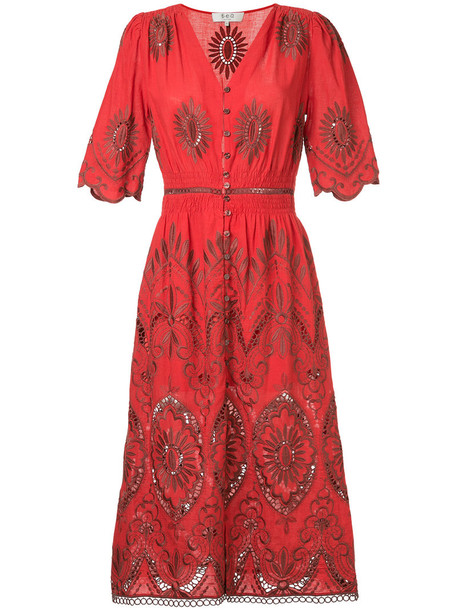 SEA dress embroidered cut-out women cotton red