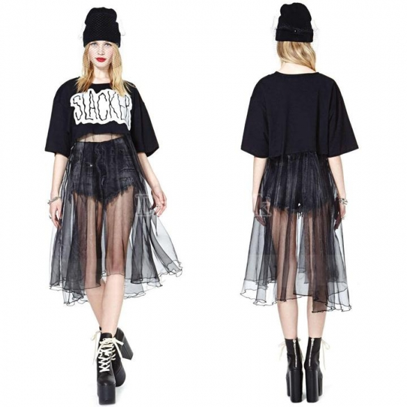 2014 Women's Letter Printed Splice Net Yarn Chiffon Irregular Hem Dress