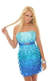 dress,party dress,blue dress,fish scales