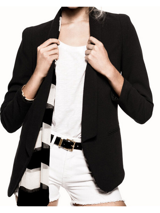 Black plain two pockets long sleeve boyfriend blazer