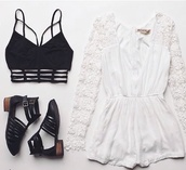 jumpsuit,sandals,ankle straps,booties,boots,jelly look alikes,woven shoes,cut-out,cut out ankle boots,dress,top,blouse,romper,bralette,shoes,underwear,shirt,crop tops,white romper,lace dress,black,cool shoes,white,strappy