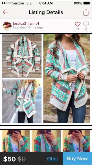 colorful tribal pattern cardigan