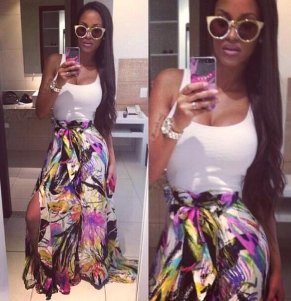 skirt balotelli rwanda maxi skirt maxi colorful bow high waist skirt top sunglasses pants