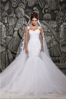 Free shipping 2014 Designers White Lace And See Through Mermaid Wedding Dresses With Removable Train Bridal Dresses Tulle-in Wedding Dresses from Apparel & Accessories on Aliexpress.com