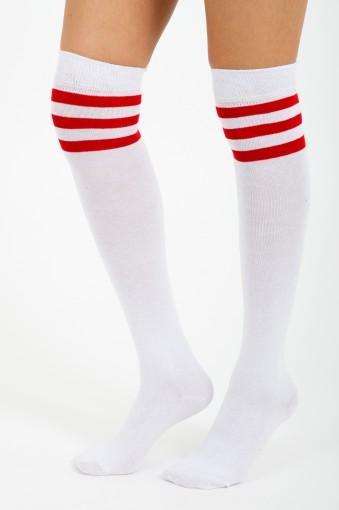 7c4c39a5d3e Ryder Red Stripe Knee High Socks In White