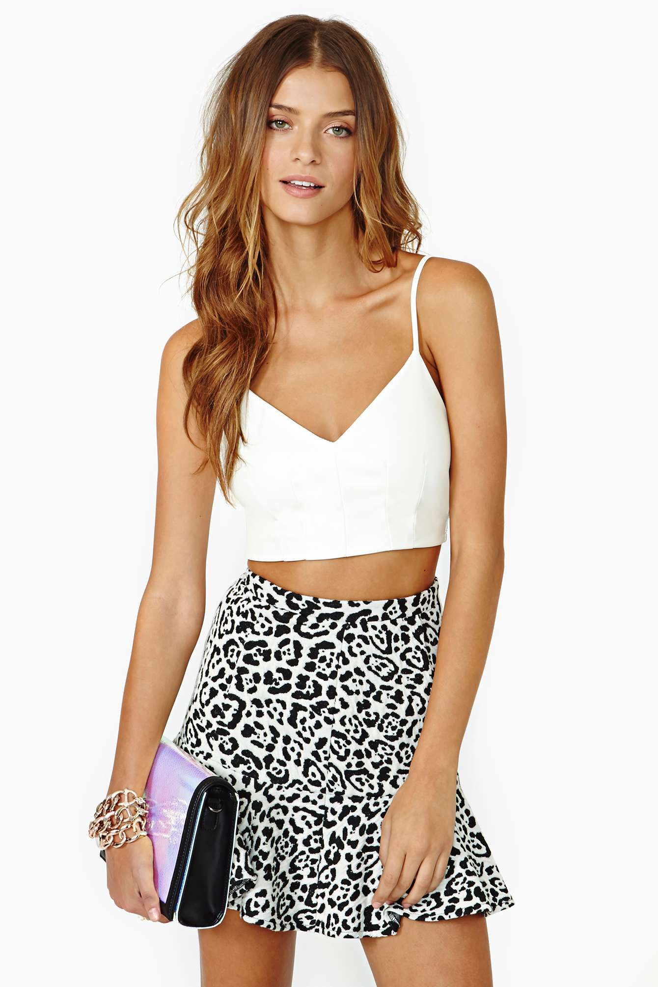 White Spaghetti Strap Faux Leather Crop Vest - Sheinside.com