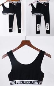 leggings,sweat,victoria's secret,pink by victorias secret,sports bra,black,workout leggings,workout,find exact,sportswear