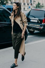 coat,black sweater,trench coat,beige trench coat,wayfarer,black crossboody bag,crossbody bag,grey pants,grey slacks,loafers,black loafers,black leather loafers,french girl style,le fashion image,blogger,jewels,sweater,bag,pants,gucci,gucci princetown,beige coat,shoes,mules,slide shoes,black shoes,black top,camel coat,fall outfits,streetstyle