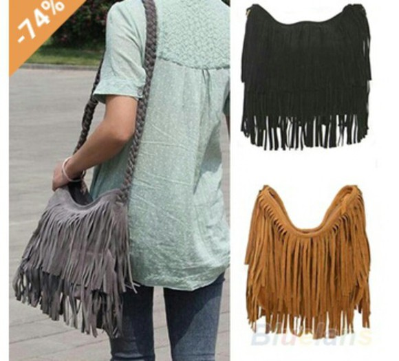boho hippie bag fringed bag