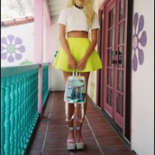 skirt,neon,skater skirt,yellow,short party dresses,crop tops,white,cut offs,cute,holographic,choker necklace,bag,girl,accessories,fashion