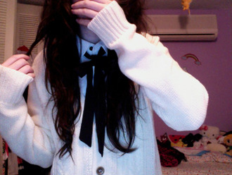 sweater white white sweater cute lovely pastel goth goth goth hipster sweet bows knitted sweater warm long sleeves blouse