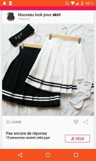 skirt short skirt black white black and white lines student cute knee high socks