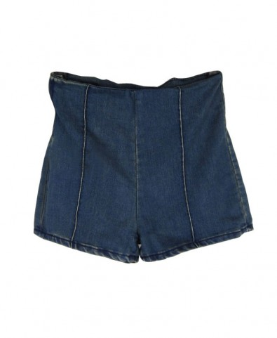 Vintage high waist denim shorts with zip