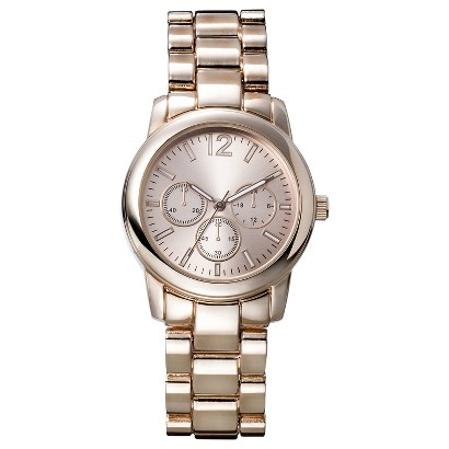 Women's Merona® Analog Link Wristwatch with Decorative Dials - Rose Gold