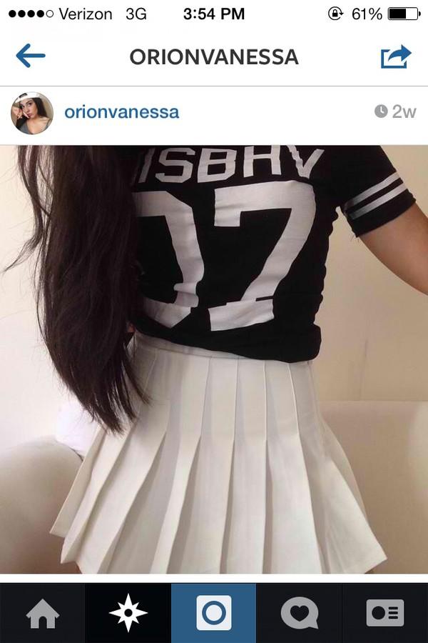 skirt white pleated skirt indie minimalist