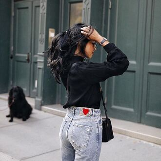 shirt denim jeans blue jeans black shirt bag black bag blogger walk in wonderland heart patch long sleeves black blouse high waisted jeans shoulder bag