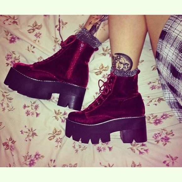 shoes platform shoes burgundy boots