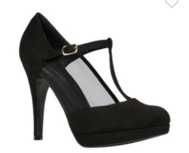 shoes black heels pumps t strap