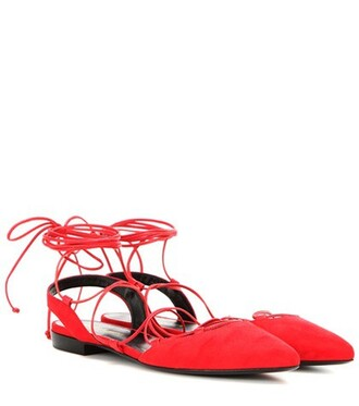 paris sandals lace suede red shoes