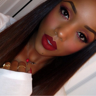 make-up red lipstick necklace ring lashes