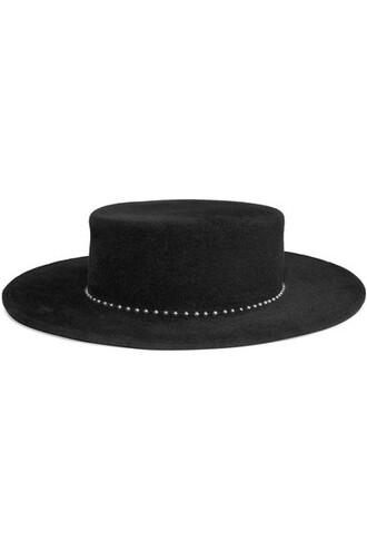 pearl embellished fedora black hat
