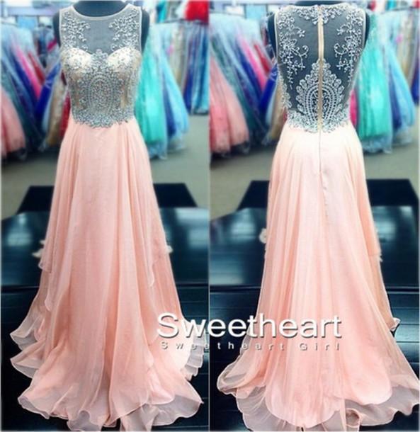 dress pink chiffon lace beaded prom a line pink dress see through dress prom dress prom dress long