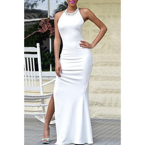 27903503044d dress long dress white sexy halter dress Charming Round Collar Sleeveless  High Slit Women s Maxi Dress