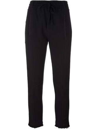 cropped women drawstring cotton black pants