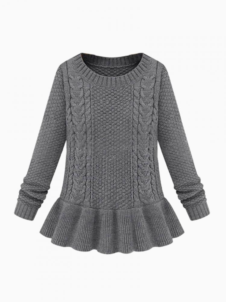 Gray Knit Jumper with Ruffle Hem | Choies