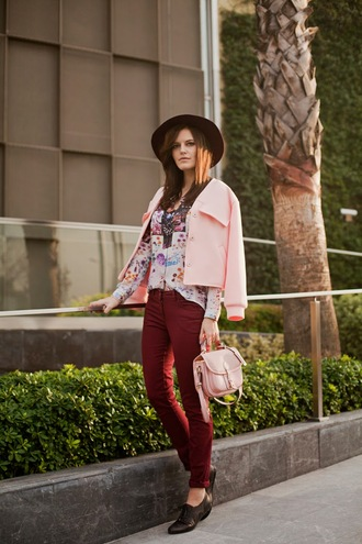 the bow-tie blogger jacket blouse bag baby pink oxfords