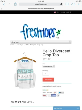 tank top divergent movies crop tops white spring style quote on it