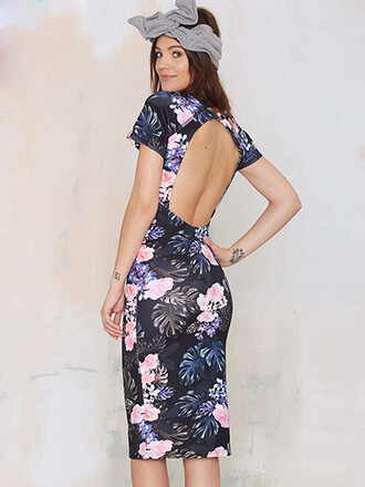 dress girl girly girly wishlist bodycon bodycon dress floral floral dress cute style short sleeve backless open back open back open back dresses