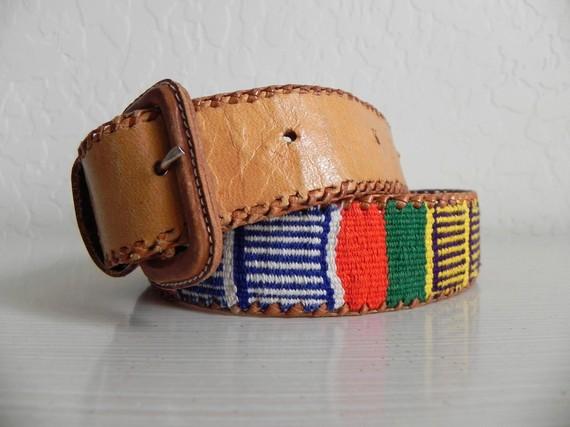 Vintage tribal southwest leather belt s m by avectoivintage