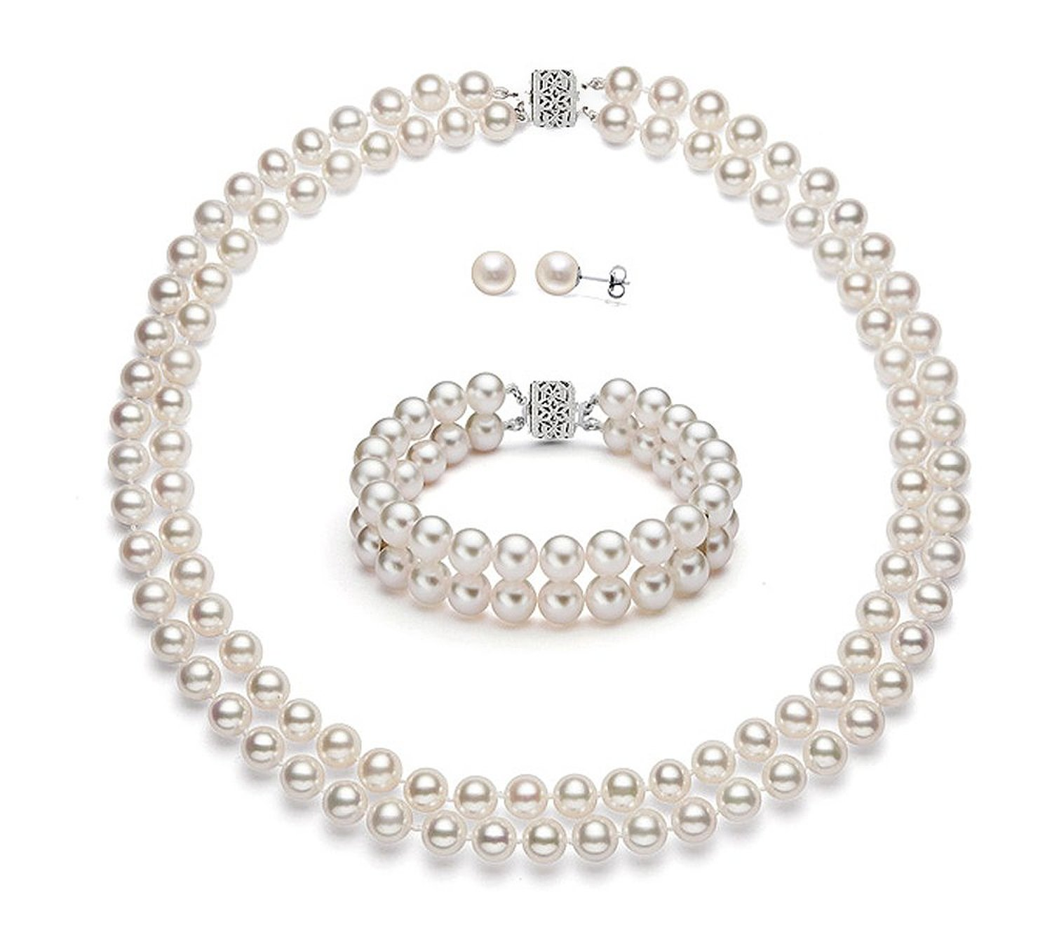Amazon.com: 14k white gold double strand white freshwater cultured pearl set aaa quality (5