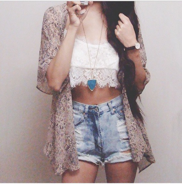 shorts denim denim shorts high waisted High waisted shorts distressed shorts ripped summer spring floral style fashion outfit light washed shorts ripped shorts trendy casual wear cardigan top jewels