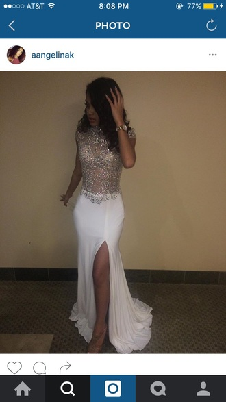 dress white dress glitter dress prom dress prom gown glitter prom dress long prom dress slit dress sheer top