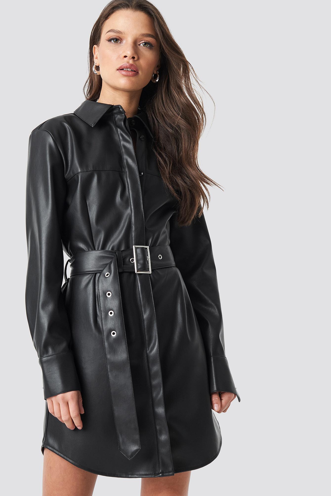 PU Leather Shirt Dress Black