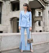 jacket,tumblr,blue,blazer,pants,flare pants,slit pants,bag,gucci,gucci bag,sunglasses,matching set,power suit,work outfits,office outfits,shoes