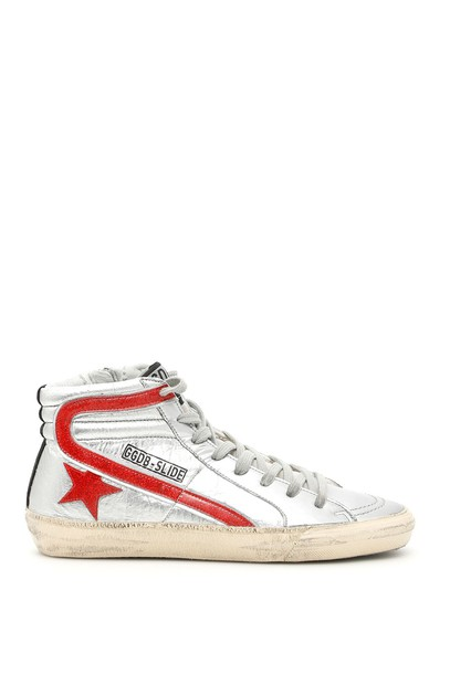 sneakers glitter silver red shoes