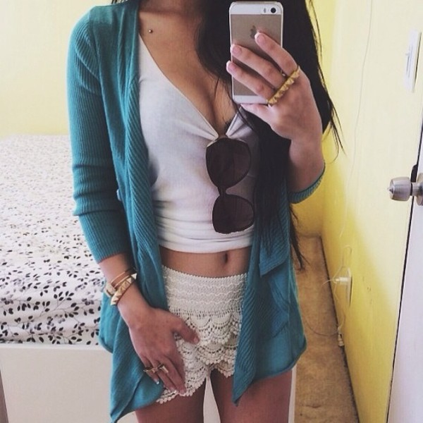 shorts cardigan crochet crop tops summer outfits sunglasses white sweater shirt tank top