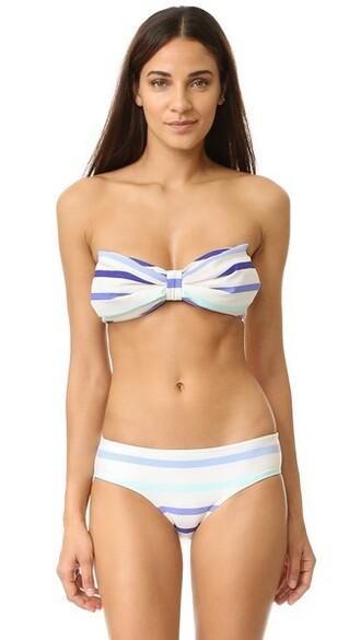 bikini bikini top bandeau bikini blue swimwear
