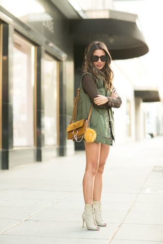 wendy's lookbook blogger top jacket shorts shoes bag sunglasses chloe faye bag chloe chloe bag vest green vest black sunglasses long sleeves mustard mustard bag boots open toes peep toe boots white booty shorts lace up boots