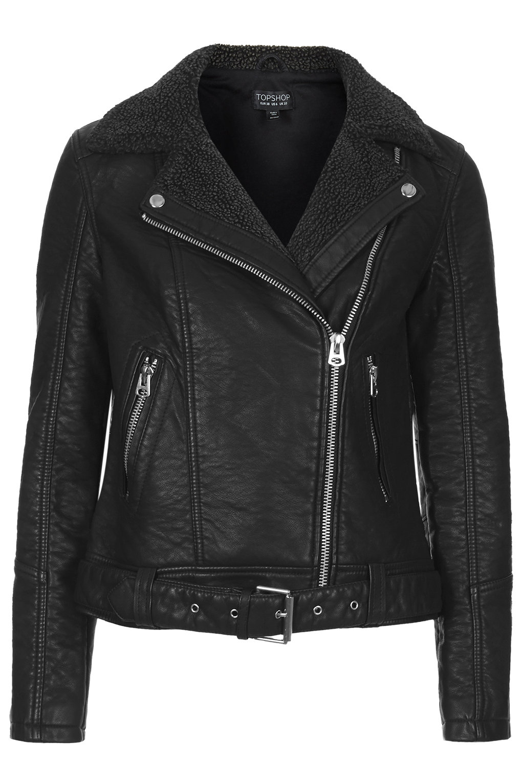 Faux leather borg biker jacket