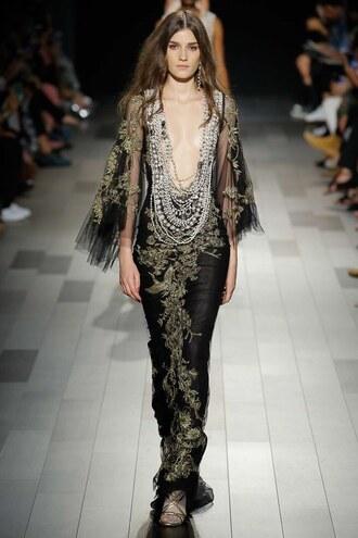 jumpsuit lace dress lace black dress nyfw 2017 ny fashion week 2017 runway model marchesa gown prom dress