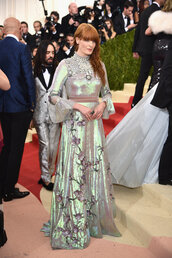 dress,florence welch,met gala,gown,prom dress,sparkle,metallic