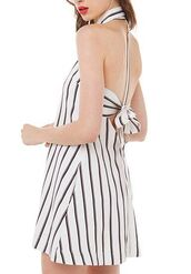 dress,vertical stripes,bow back,peter pan collar