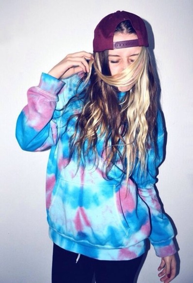 ombre jacket hoodie tiedye style colors dope girl clothes sweater tie dye